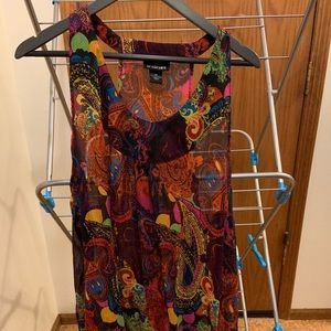 Multi colored sheer racer back paisley tank